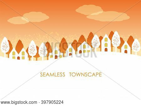 Seamless Townscape At Sunset With Text Space Isolated On A White Background. Vector Illustration. Ho