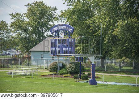 Leipsic, Oh, September 8th, 2020, Leipsic High School John Edwards Football Field Goal Post And Scor