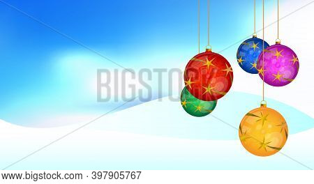 Hanging Colorful Christmas Balls With Stars. Winter Background With Snowdrifts. Merry Christmas And