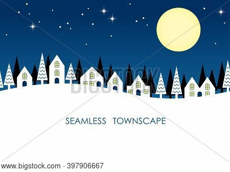 Seamless Townscape At Night With Text Space Isolated On A White Background. Vector Illustration. Hor