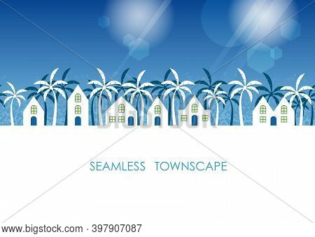 Seamless Tropical Townscape With Text Space, Vector Illustration. Horizontally Repeatable.