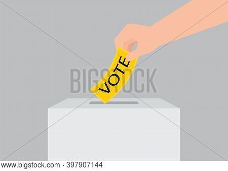 Hand Holding Election Vote Ballot In Ballot Boxes, Vote Political Design Conceptual Vector Illustrat