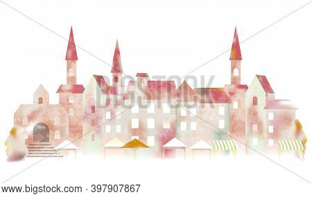Watercolor European Townscape Isolated On A White Background. Vector Illustration.