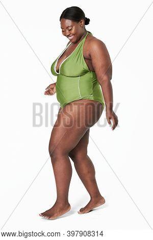 Size inclusive women's green swimsuit mockup studio shot