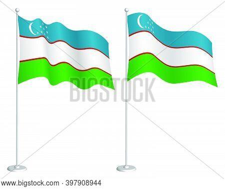 Flag Of Uzbekistan On Flagpole Waving In Wind. Holiday Design Element. Checkpoint For Map Symbols. I