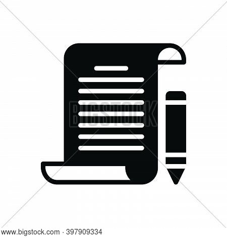 Black Solid Icon For Assignment Task Piece-of-work Homework Education Document Notebook Text Paper