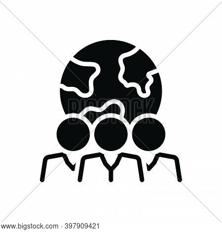 Black Solid Icon For Population Folk Citizens Populace Community Person Crowd Country Globe