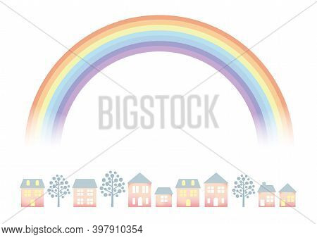 Pastel Colored Townscape With A Rainbow Isolated On A White Background. Vector Illustration.