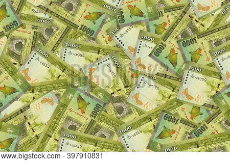 1000 Sri Lankan Rupees Bills Lies In Big Pile. Rich Life Conceptual Background