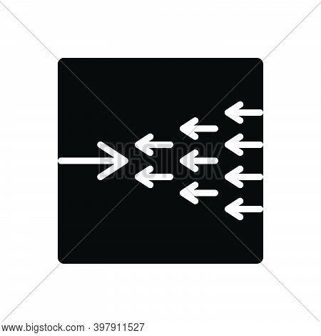 Black Solid Icon For Exception Omission Exclusion Against Arrow Opposite Contrary Against Adverse