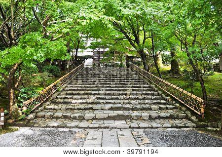 Stairs At Ryoanji Temple At Kyoto, Japan