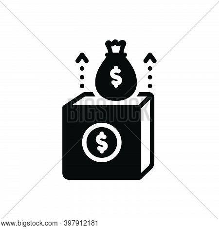 Black Solid Icon For Revenue Income Proceeds Rewards Profit Receipt Wealth Box Fund Economy Money Co