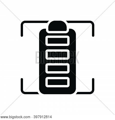 Black Solid Icon For Full Battery Charge Electricity Energy Power Stocked Rechargeable Entire Comple