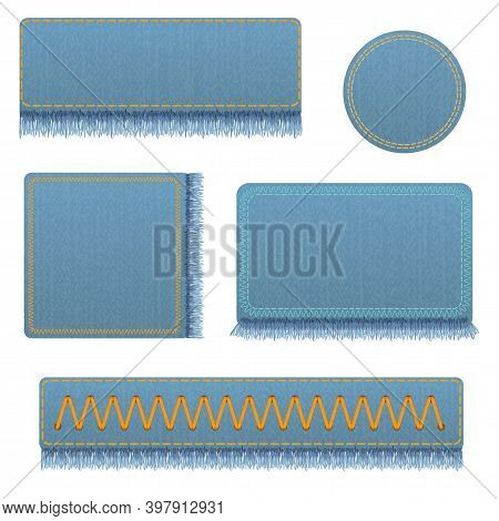 Vector Set Of Realistic Banners Of Jeans. Realistic Denim Banner With Texture And Fringe.