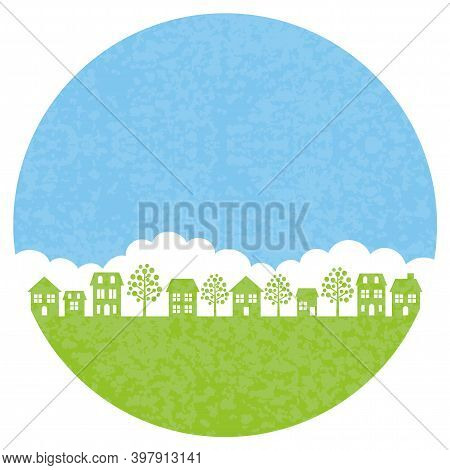 Round Townscape Background Isolated On A White Background. Vector Illustration.