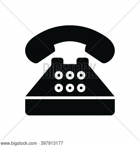 Black Solid Icon For Typical Regular Generally Common Usually Phone Telephone Contact Call Communica