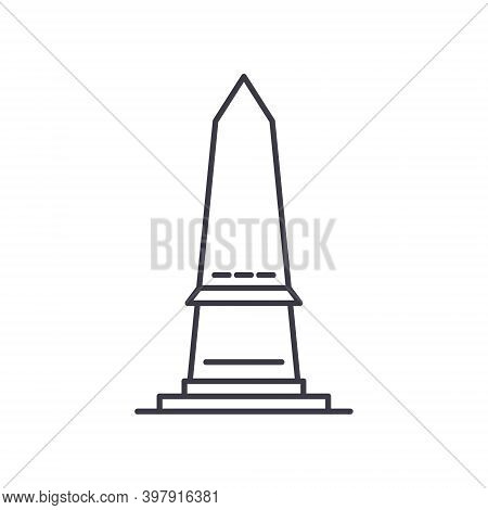 Obelisk Icon, Linear Isolated Illustration, Thin Line Vector, Web Design Sign, Outline Concept Symbo