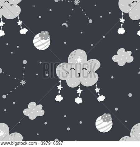 Cute Nursery Night Seamless Pattern With Clouds, Stars, Moon, Constellations, Planets And Abstract D