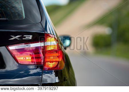 Grodno, Belarus - June 2020: Bmw X3 Ii F25 Xdrive Black Car Right Rear Clear Glass Led Taillight Tur