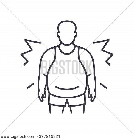Obesity Icon, Linear Isolated Illustration, Thin Line Vector, Web Design Sign, Outline Concept Symbo