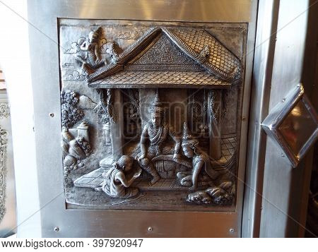 Chiang Mai, Thailand, December 6, 2018: Detail Of The Decoration On One Of The Doors Of The Wat Muen