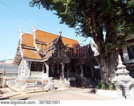 Chiang Mai, Thailand, December 6, 2018: Main Facade Of Wat Muen San Temple, Chiang Mai Silver Temple