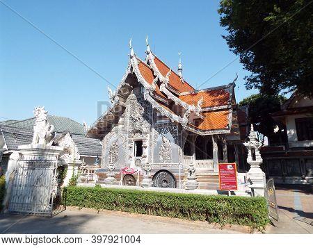 Chiang Mai, Thailand, December 6, 2018: Side Facade Of Wat Muen San Temple, Chiang Mai Silver Temple