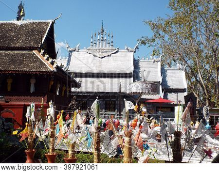 Chiang Mai, Thailand, December 6, 2018: Tin And Silver Alloy Roof Of Wat Sri Suphan Temple, Chiang M