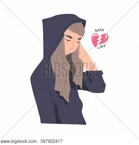 Frustrated Woman In Hoody With Broken Heart Feeling Agony Because Of Unhappy Love Vector Illustratio