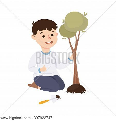 Obedient Boy With Good Breeding Planting Tree In Soil Vector Illustration