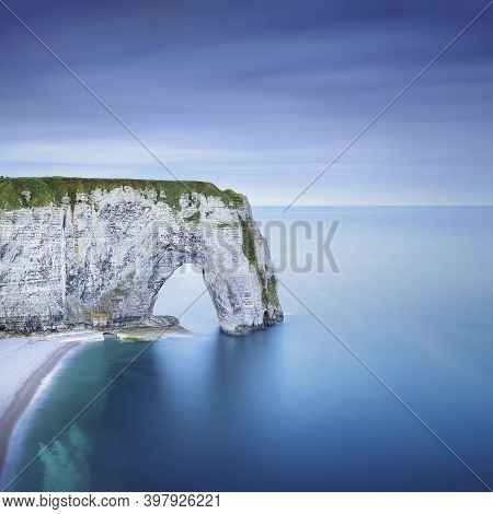 Etretat, La Manneporte Natural Rock Arch Wonder, Cliff And Beach. Long Exposure Photography. Normand