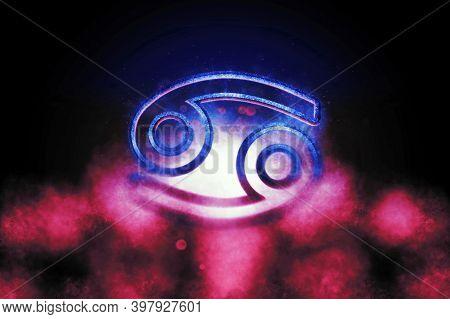 Cancer Zodiac Sign, Night Sky,horoscope Astrology Background,cancer Horoscope Symbol, Pink And Blu