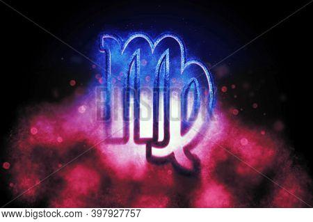 Virgo Zodiac Sign, Night Sky,horoscope Astrology Background,virgo Horoscope Symbol, Pink And Blue