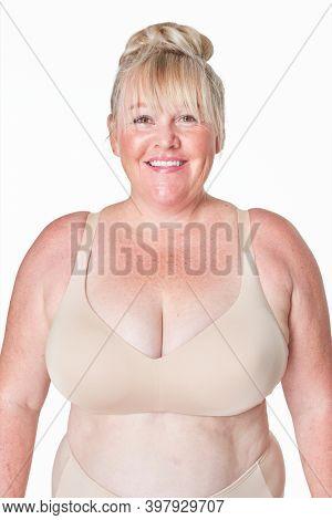 Size inclusive fashion beige lingerie mockup