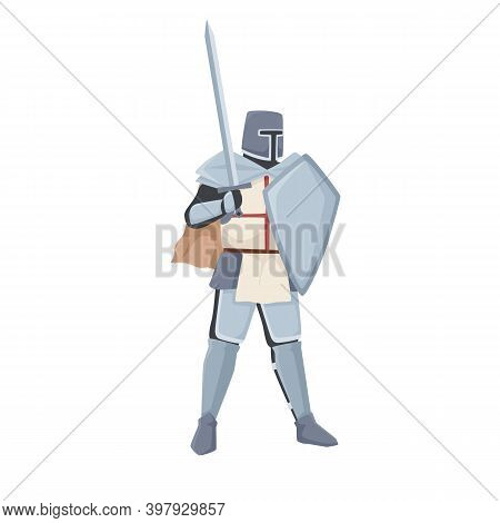 Medieval Knight Standing In Armor And Helmet Holding Shield And Raised Sword. Warrior Of Middle Ages