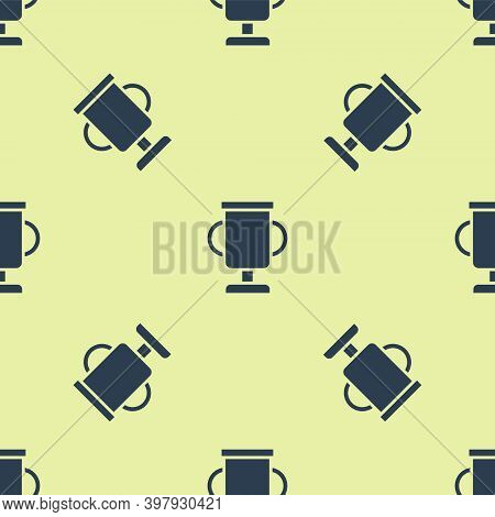 Blue Award Cup With Bicycle Icon Isolated Seamless Pattern On Yellow Background. Winner Trophy Symbo