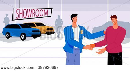 Car Sale Deal With Seller And Buyer In Car Showroom, Flat Vector Illustration.