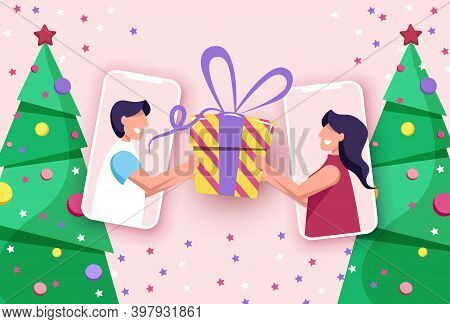 Party online, video call. Friends celebrate Christmas and New Year online using mobile phones. Christmas new normal concept with man and woman. Merry Christmas card. Merry Christmas card vector Illustration.Christmas. Christmas Vector. Christmas Backgroun