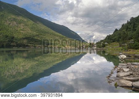 View Over The Arnafjorden Near Nese. Arnafjorden Is A Southern Branch Of The Sognefjord Which Is The