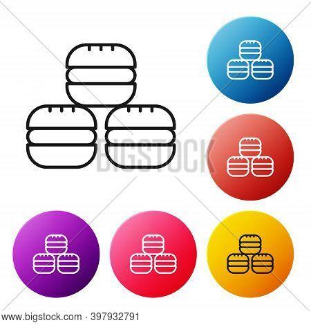 Black Line Macaron Cookie Icon Isolated On White Background. Macaroon Sweet Bakery. Set Icons Colorf