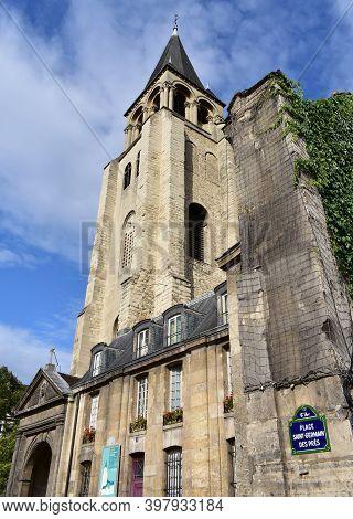 Paris, France. August 12, 2019. Saint-germain-des-pres Church Bell Tower From Place Saint-germain De