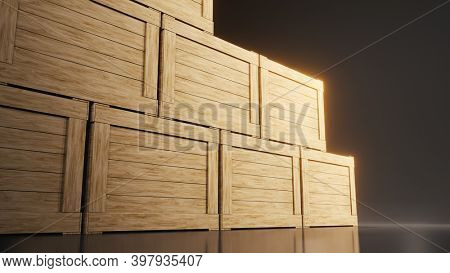 A crate of wood cargo 3D illustration