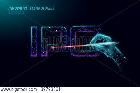 Initial Coin Offering Ipo Letters Technology Concept. Business Finance Economy Low Poly Design Style