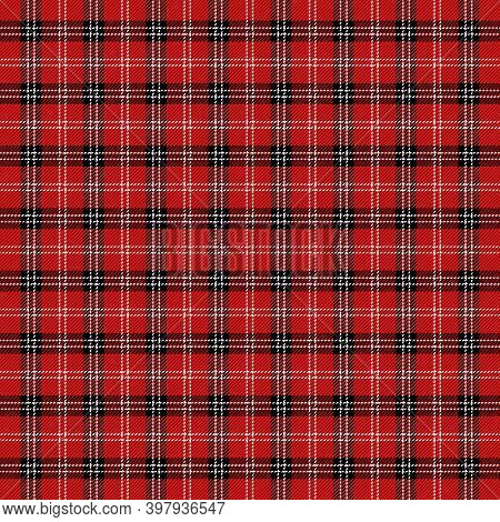 Christmas And New Year Tartan Plaid. Scottish Pattern In Black, Red And White Cage. Scottish Cage. T