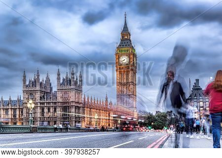 Big Ben With People On Bridge In The Evening, London, England, United Kingdom