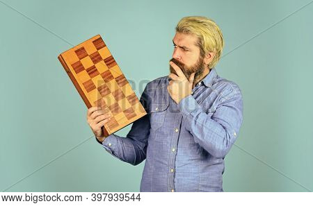 Chess Figures. Intellectual Games. Intelligent Bearded Hipster. Cognitive Skills. Game Strategy Conc