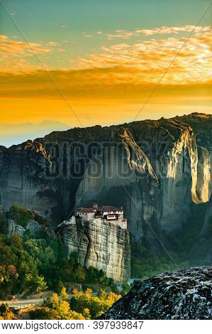 The Monastery Of Rousanou St. Barbarain In Meteora Rock Formation, Thessaly Greece. Greek Destinatio