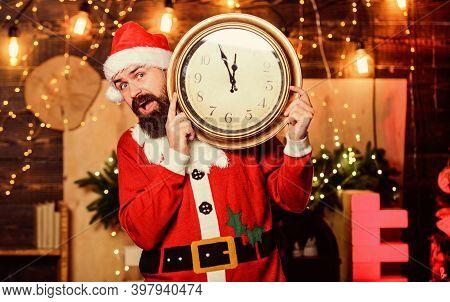 Look Its Time. Happy Bearded Man. Winter Holidays. Wait For Xmas Presents. Santa Hold Clock. Winter