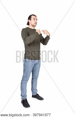 Full Length Portrait Of Amazed And Perplexed Man Pointing Index Fingers To Himself, Looking Confused