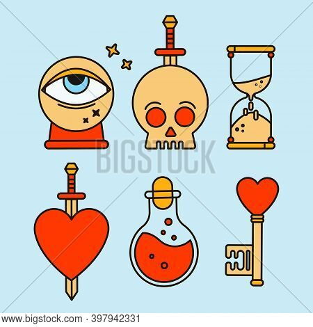 Fortune Teller Icon With Mystic Elements. Background For Tarologist And Astrologer. Halloween Card